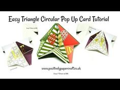 cardmaking video tutorial: Triangle Circular Pop Up Card . paper engineering for a stand up card . 3d Cards, Pop Up Cards, Cool Cards, Fancy Fold Cards, Folded Cards, Paper Pop, Shaped Cards, Card Making Techniques, Card Tutorials