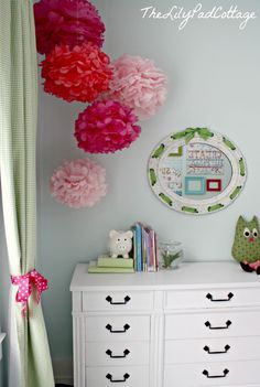 Big Girl Room Pom Poms and Dresser