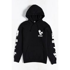 Stussy Paid Rat Hooded Sweatshirt ($69) via Polyvore featuring men's fashion, men's clothing, black and stussy