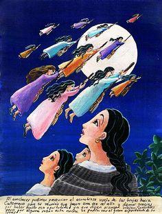 Exvoto donde dan gracias por haber visto el vuelo de las brujas hacía Catemaco. arte popular Mexicano.