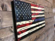 Tattered Split American & Thin Blue Line - American Flag - Military Veteran Made -Torched-Wood Flag Police Flag, Police Officer Gifts, American Flag Wood, American Pride, Torch Wood, Flag Painting, Blue Line Flag, Wood Flag, Patriotic Wreath