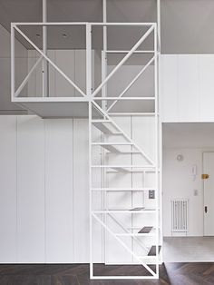 Description from MS-DA:This project evolved as a close collaboration between Xiao Ma Wei from Beijing & Michel Schranz in London. Staircase Railings, Staircase Design, Stairways, Interior Stairs, Home Interior Design, Arched Cabin, Tiny Loft, Barn Renovation, Shelving Design