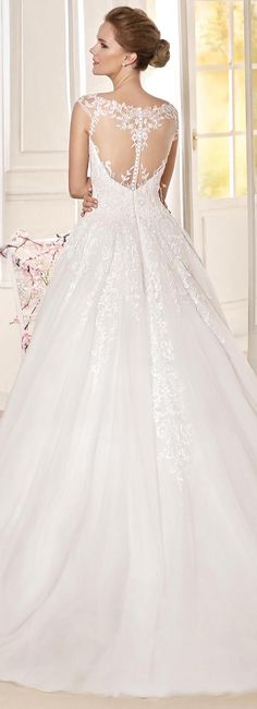 Lace and illusion back Ball gown Wedding Dress by Fara Sposa 2017 Bridal Collection