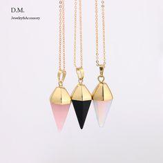 Banhado a ouro pingente de cristal de quartzo pendulo cristais de cura reiki chakra pêndulo de radiestesia pedra natural colar de jóias