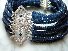 Blue Sapphire, Gemstone Cuff Bracelet, Antique Brooches, Brooch Bracelet,  Vintage Brooch, Bracelet, Sapphire Jewelry, Sapphire Bracelet