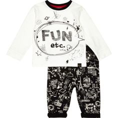Mini boys white tee and doodle joggers set - outfits - mini boys - boys