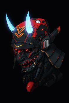 'Neon Devil Samurai' by Character Concept, Character Art, Concept Art, Fantasy Kunst, Fantasy Art, Fantasy Blade, Oni Maske, Cyberpunk Kunst, Cyberpunk Tattoo