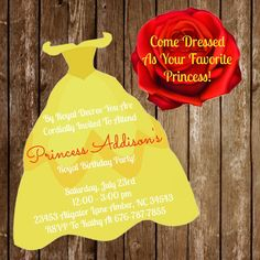 Belle Disney Princess  Birthday Dress Invitation Download + Cutout Beauty and the Beast by jzoet on Etsy