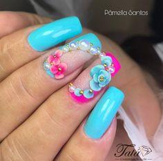 Glow Nails, 3d Nails, Pink Acrylic Nails, Glitter Nail Art, Nail Art Fleur, Nail Tip Designs, Bridal Nail Art, Nail Effects, Luxury Nails
