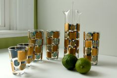 Your place to buy and sell all things handmade Martini Set, Stir Sticks, Highball Glass, Glass Company, Barware, Planter Pots, Carnival, Cocktails, Turquoise