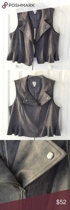 NWT Lauren Conrad grey velour vest Lauren Conrad grey velour vest ,peplum  Condition: New With Tags LC Lauren Conrad Jackets & Coats Vests