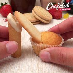 Mini Mouse Cupcakes, Cute Cupcakes, Baking Cupcakes, Cute Food, Yummy Food, Milano Cookies, Cupcake Videos, Cupcake Cones, Large Cupcake