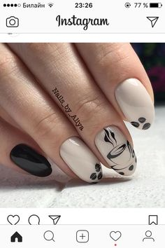 40 Coffee Nail Designs That Are So Cute! - Coffee Nail Designs That Are So Cute! Latest Nail Designs, Fall Nail Designs, Winter Nails, Summer Nails, Fall Nails, Hair And Nails, My Nails, Fall Nail Art, Nail Decorations