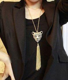 Long Chain Tassel Tiger Pendant Necklace