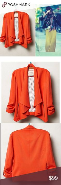 Cartonnier Travelogue Jacket Vibrant orange/poppy Cartonnier Travelogue jacket from Anthroplogie. Open front with front brushed metal zip pockets. Tencel/polyester lining. Gathered brushed metal snapped cuffs. Excellent condition. Measurements available upon request. NO TRADES Anthropologie Jackets & Coats Blazers