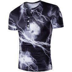 Lightning Print Henley Shirt ($15) ❤ liked on Polyvore featuring men's fashion, men's clothing, men's shirts, men's casual shirts, mens henley shirts, mens patterned shirts and mens print shirts