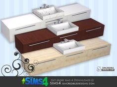by SIMcredibledesigns.com  Found in TSR Category 'Sims 4 Sinks'