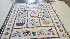My Kim McLean quilt, basted and ready to hand quilt
