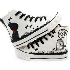 Fashion-Hand-painted-Cute-Cartoon-Cats-Birds-Comfortable-Canvas-Shoes