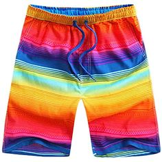 Fashion Men's Board Short Beach Shorts Casual and Loose Shorts, Rainbow -- This is an Amazon Associate's Pin. Find the item on Amazon website by clicking the VISIT button.