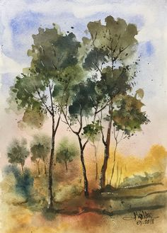 Tree Watercolor Painting, Watercolor Landscape Paintings, Watercolor Pictures, Painting & Drawing, Watercolor Projects, Watercolor Techniques, Painting Techniques, Art Sketchbook, Tree Art