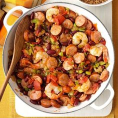 60 Cheap Dinner Ideas for Family Meals Under $10 | Taste of Home Creole Recipes, Cajun Recipes, Sausage Recipes, Shrimp Recipes, Paleo Recipes, Cooking Recipes, Cajun Food, Yummy Recipes, Beginner Recipes