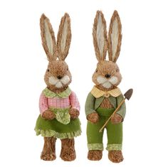 "E3653313 Set/2 RAZ 14"" Garden Bunny Couple Easter Decoration Spring Rabbit #RAZImports"