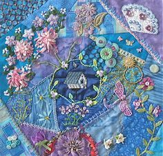 how to do crazy patchwork Crazy Quilt Stitches, Crazy Quilt Blocks, Patch Quilt, Crazy Quilting, Ribbon Embroidery, Embroidery Stitches, Embroidery Patterns, Jm Barrie, Quilt Stitching