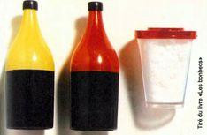 """La poudre acide en petites bouteilles ou petites boites transparentes. Le couvercle servait de pied quand on le clipsait dessous. Image issue du livre """"Les bonbecs"""". Oldies But Goodies, Sweet Memories, Just Kidding, Hot Sauce Bottles, Childhood, Retro, Vintage, Images, Spirit"""