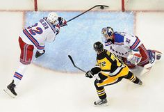It's in there: A shot from Penguins forward Phil Kessel trickles over the goal line as the Rangers' Nick Holden is too late in the second period Tuesday, Dec. 20, 2016, at PPG Paints Arena. (Chaz Palla |  @tribsports)