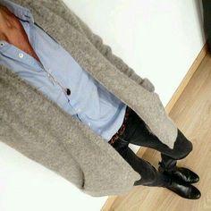 long fuzzy sweater- leopard belt