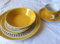 Complete Set of Vintage Yellow Dishes // by splendidsomethings, $325.00