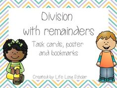 Teaching Division, Remainders, World Problems, Task Cards, Teacher Pay Teachers, Teaching Resources, Bookmarks, Students, Middle