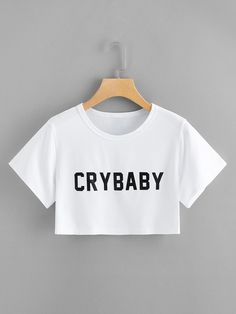 Camiseta crop top corta crybaby blanca full - Camiseta crop top corta crybaby blanca full Source by - Girls Fashion Clothes, Teen Fashion Outfits, Outfits For Teens, Cropped Tops, Cute Crop Tops, Crop Tops For Kids, Teen Crop Tops, Crop Top Outfits, Edgy Outfits
