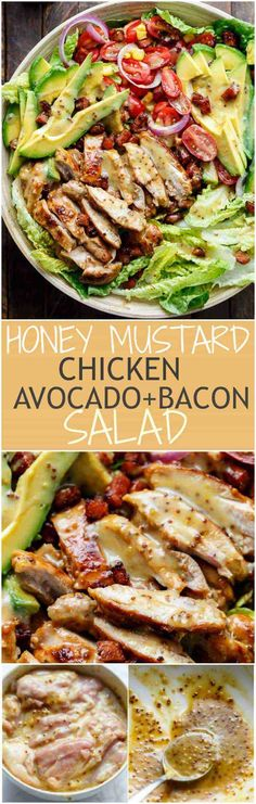 Honey Mustard Chicken, Avocado + Bacon Salad, with a crazy good Honey Mustard dressing withOUT mayonnaise or yogurt! And only 5 ingredients!   https://cafedelites.com