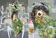 Love the overgrown table runner with succulants and coral! Wish there were flowers too, but also love the fact that it's not well-groomed.  It meanders and looks like it happened naturally