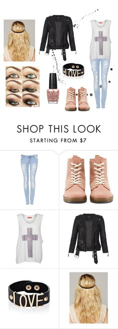 """""""Teen outfit #2"""" by ema-katarina ❤ liked on Polyvore featuring Parisian, Dr. Martens, Influence, AllSaints, River Island, Free People and OPI"""