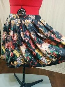 Faux Leather Full Mini Skirt Say What? Size XL Antique Floral Print Unique | eBay #mini #saywhat?