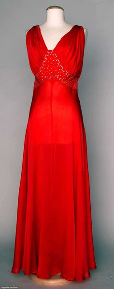 Evening Gown: ca. 1940's, silk, rhinestone trimmed midriff band.   Augusta Auctions, April 17, 2013 - NYC, Lot 349
