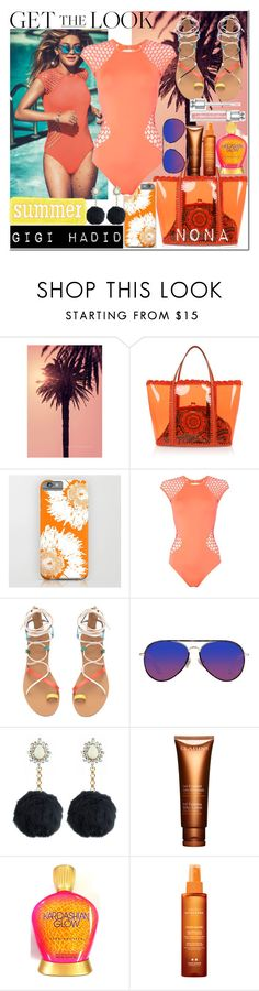 """""""Get The Look x Gigi Hadid"""" by delunaray ❤ liked on Polyvore featuring Dolce&Gabbana, Seafolly, Matthew Williamson, Rock 'N Rose, Clarins, Institut Esthederm, Christian Dior, GetTheLook and Swimsuits"""