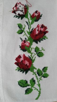 This Pin was discovered by Ays Cross Stitch Rose, Cross Stitch Flowers, Cross Stitch Embroidery, Hand Embroidery, Cross Stitch Patterns, Beading Patterns, Embroidery Patterns, Bordado Tipo Chicken Scratch, Palestinian Embroidery