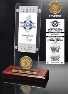 Super Bowl 20 Ticket & Game Coin Collection