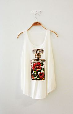 Chanel tshirt chanel perfume shirt women's tank white by LesToiles, $17.00