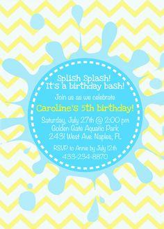 Pool birthday party invitation splish splash by KMCustomCreations, $12.00