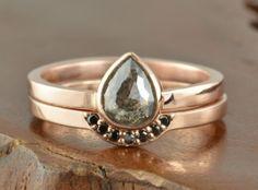 Black Diamond 14k Rose Gold Engagement Ring