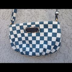 "Marc by Marc Jacobs New Q Checkerboard Percy Bag Marc by Marc Jacobs Percy checkerboard cross body. I hate to part with it but I don't reach for it anymore. It's time for someone else to show this little beauty some love . Has inner pocket.  authentic.  cow leather. Size is 10"" x .5 x 6.5"". Color: Deep Multi Blue. Unfortunately I'm looking to trade but I am open to reasonable offers. If you have any questions please comment below  Marc Jacobs Bags Crossbody Bags"