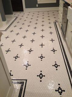 Restoration hexagon floor tile pattern