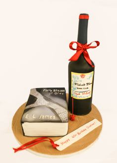 Book Cake, Wine bottle cake, book club cake