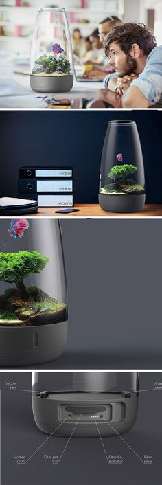 Tau is a twist on the standalone aquarium that ditches all the awkward tubing, hard lighting and unsightly box filters for a cleaner, minimalistic look that you and your fishy friends will love! All of the aforementioned features are neatly packed within the main body at the bottom. Even its light projects upward from the base before being reflected back down, giving the unit subtle, relaxing ambience rather than direct, harsh lighting.
