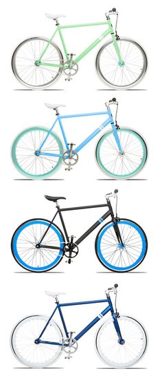 Loving these mint, green, and blue bikes!
